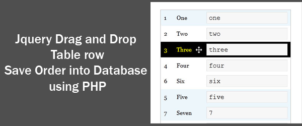 Jquery Drag and Drop Table Save into Database Using PHP
